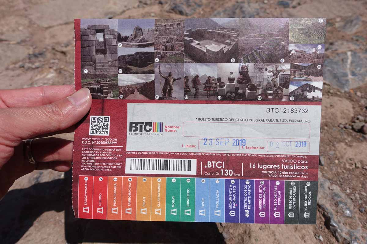A fresh Cusco Tourist Ticket stamped with a start date of September 23, 2019.