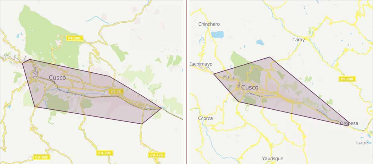 Cusco's urban and interurban bus coverage maps - via Moovit (cropped).