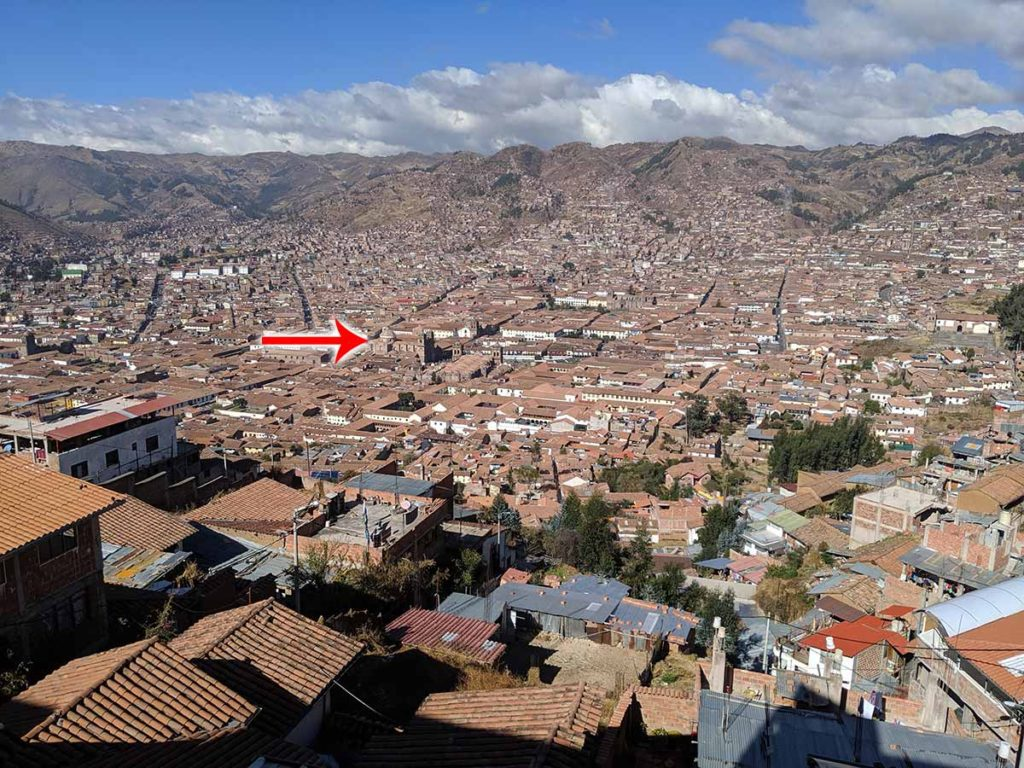 Photo showing the location of the Basilica at 3,380 meters. Taken from our Airbnb at 3,550 meters.