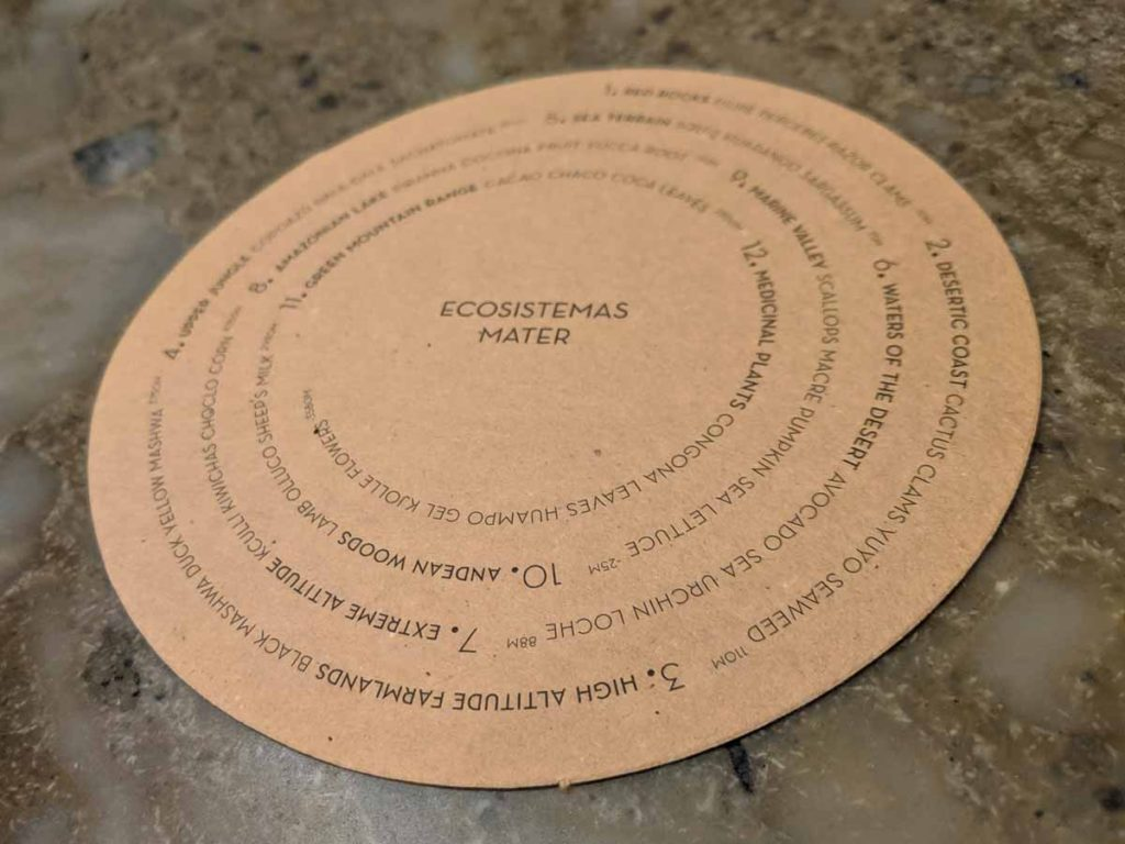 Central Restaurant in Lima prints its menu on a circular piece of cardboard in a spiral