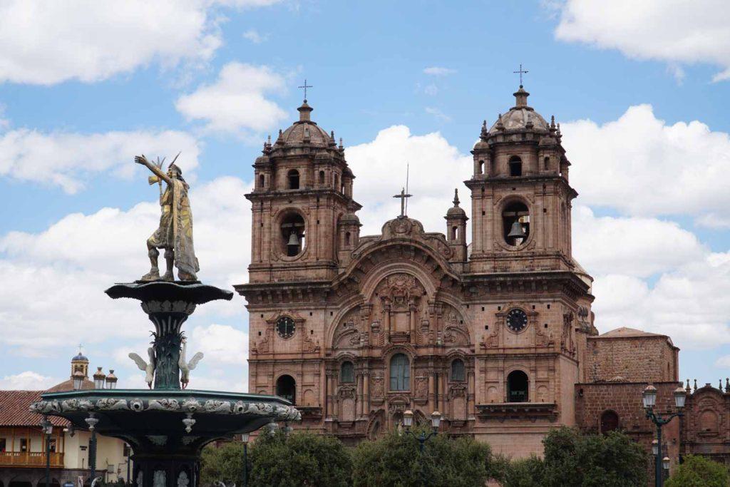 Statue of Inca Pachacuti in Cusco Peru