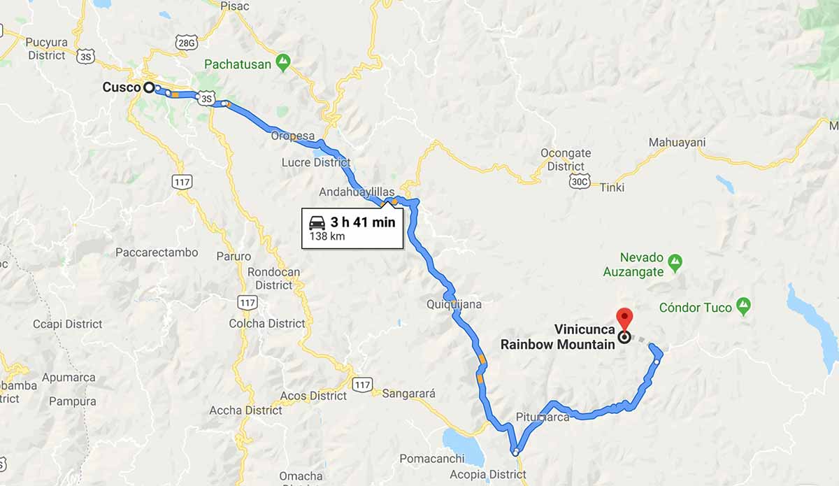 Google maps directions from Cusco to Rainbow Mountain