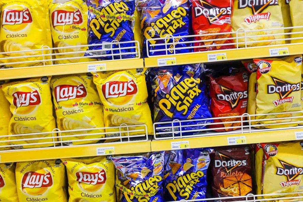 Lays and Doritos are popular snack foods here.