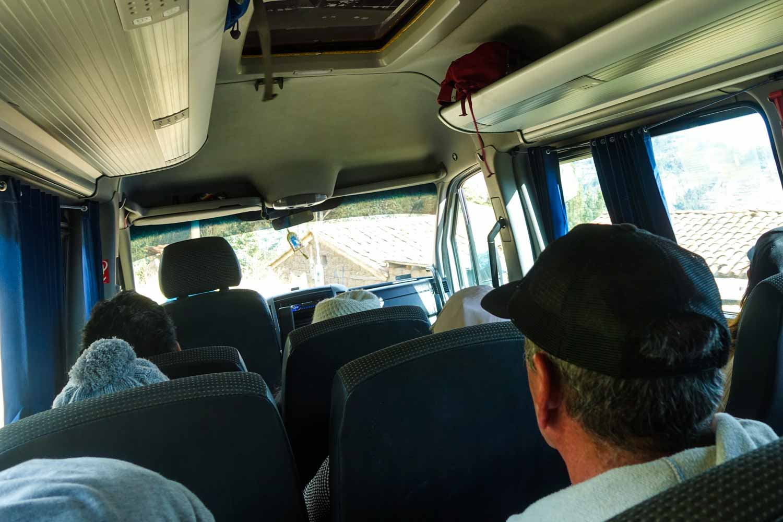 Inside the van showing people in seats.