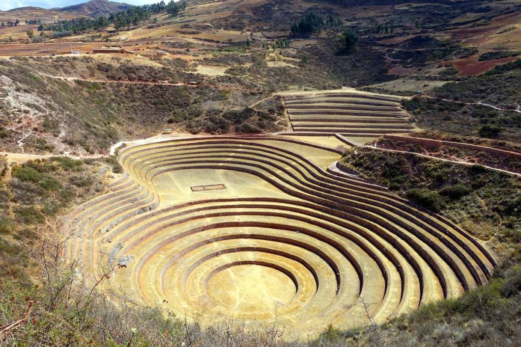 The view of Moray from above. Circular terraces that sort of form into a bowl at the bottom.