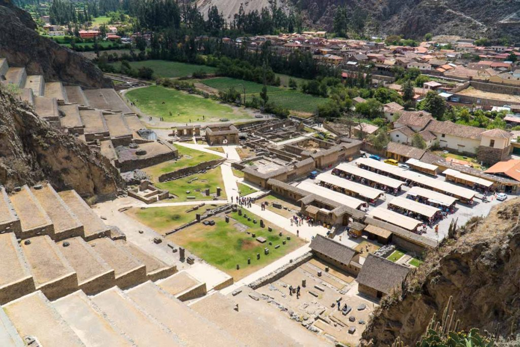Most people heading to Machu Picchu will at least see this Cusco Tourist Ticket site when they pull into Ollantaytambo. This is a view from the top of the structure at the entrance to the site. You can see the town and a souvenir market below.