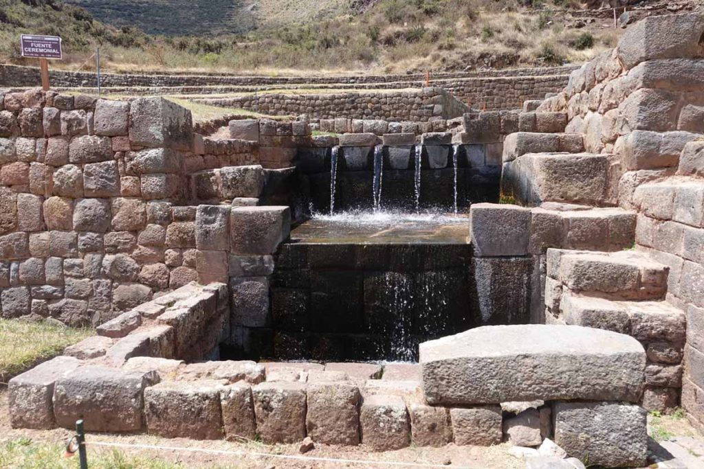 The fountain at Tipon, one of the best Inca ruins sites in Peru.