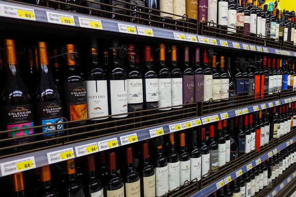 A wine display at a grocery store