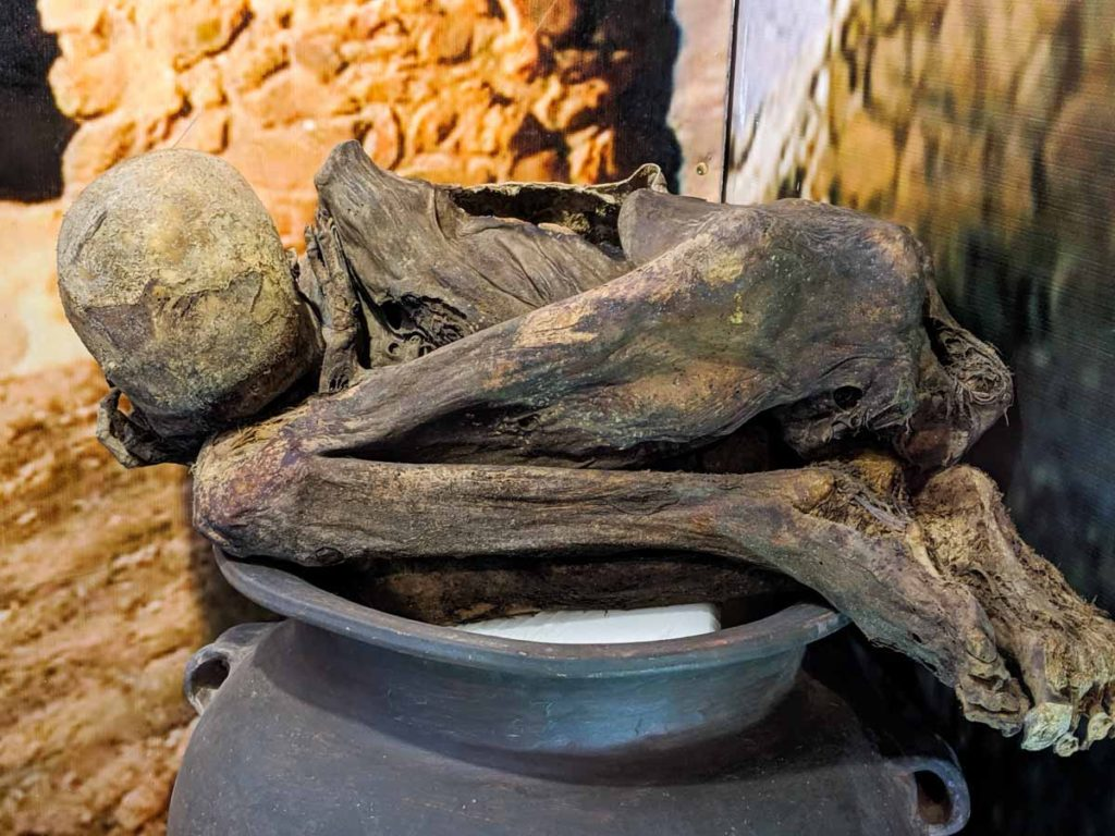 A mummified body in the Coricancha Museum.