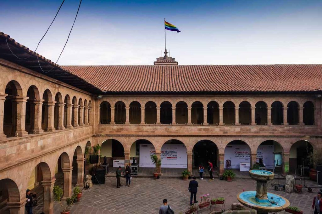 The courtyard of the Museum of Contemporary art in Cusco