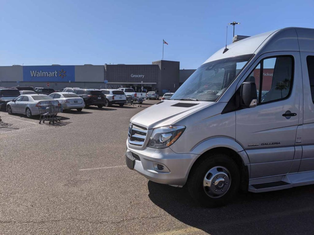 Our van parked at a Walmart with the store in the background