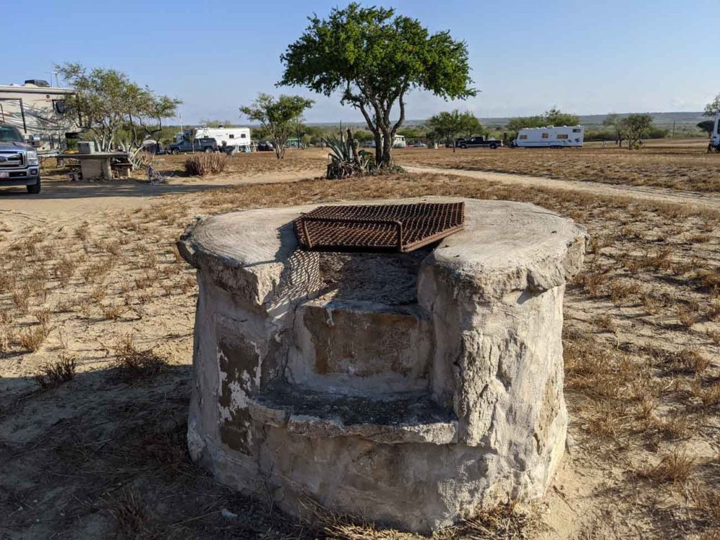 A concrete and stone grill at Falcon County Park