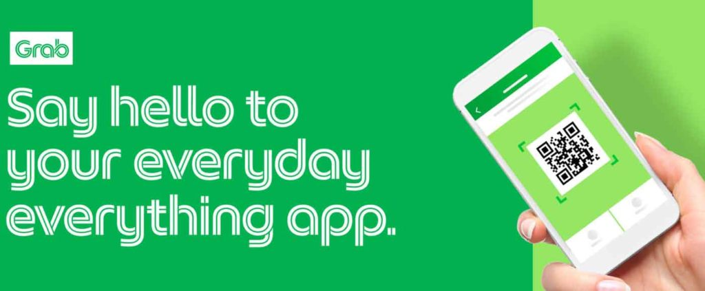"Screenshot of the from page of the Grab website with the logo and a quote that reads, ""Say hello to your everyday everything app"""