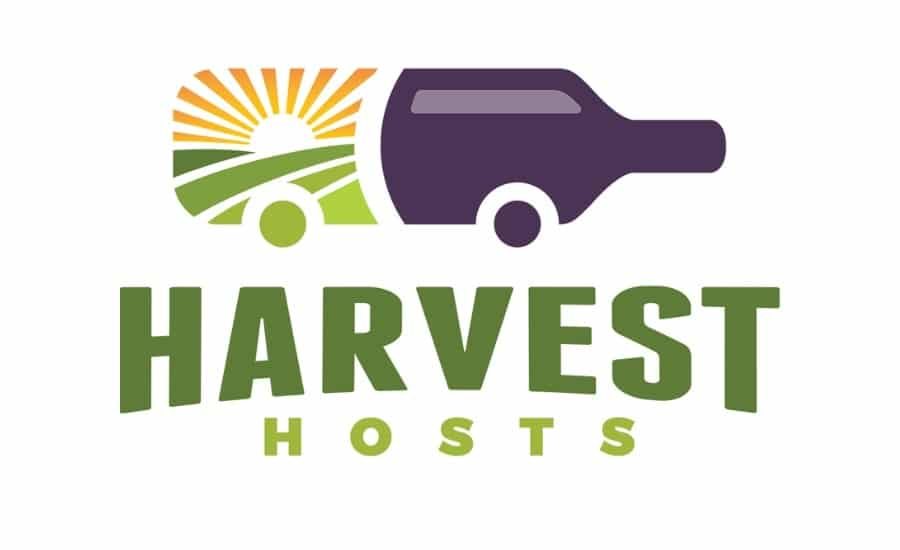 Harvest Hosts logo. An RV shaped like a wine bottle.
