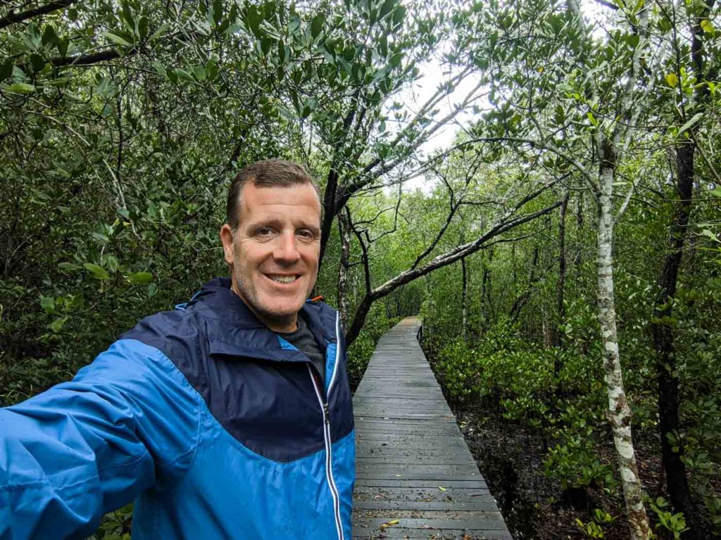 Michael in a selfie along the boardwalk in the Karimunjawa mangrove forest.