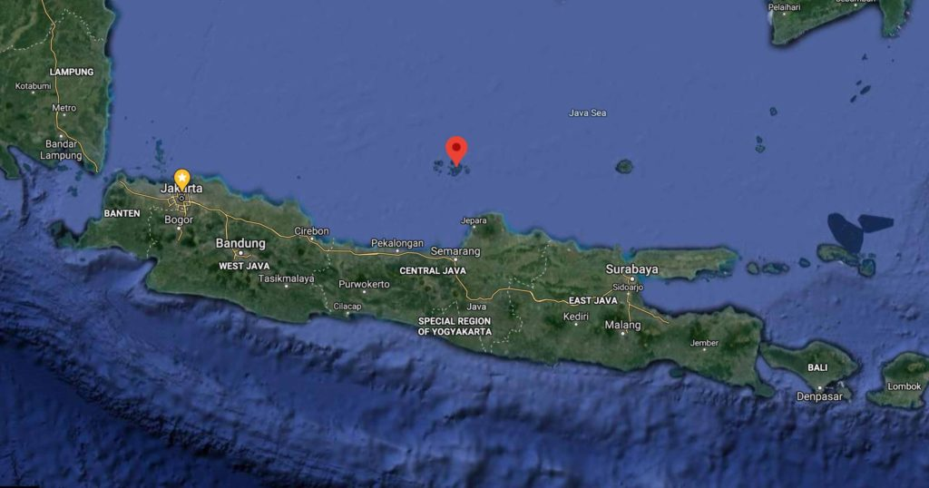 Google map of the position of Karimunjawa above the island of Java in about the center.