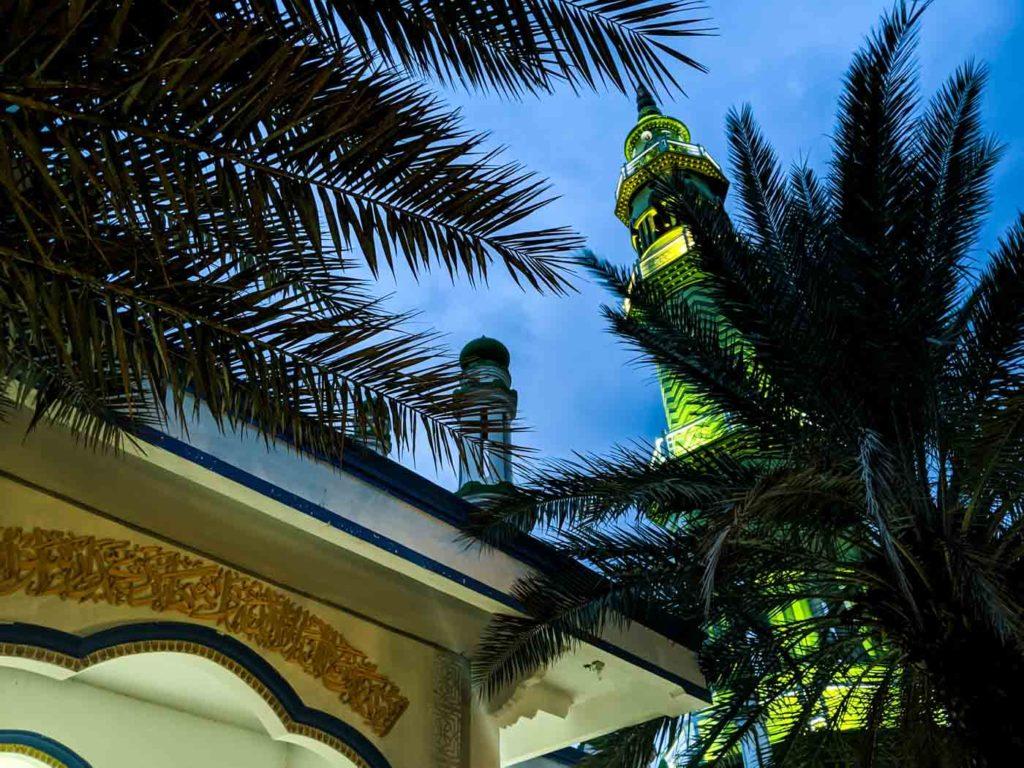 The bright green minaret of Masjid Baitul Muttaqin in Karimunjawa rises above a coconut tree.