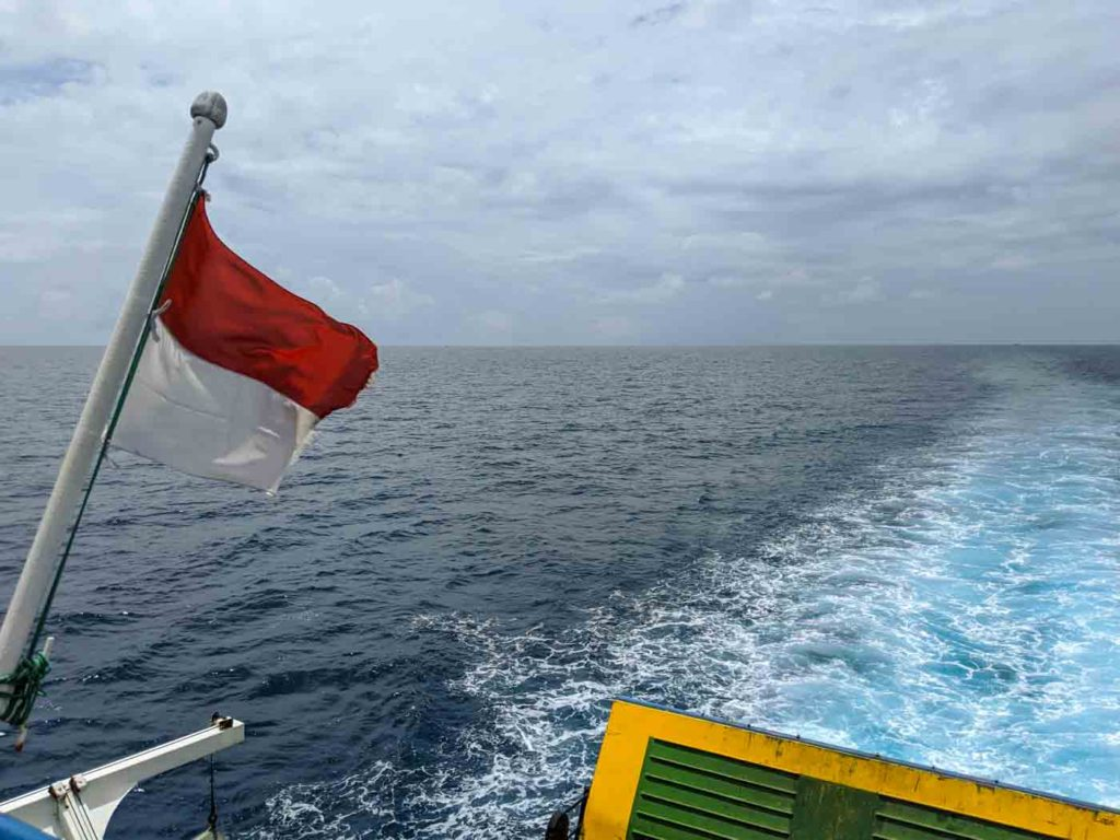 The view of the aft section on the top deck with an Indonesian flag flying
