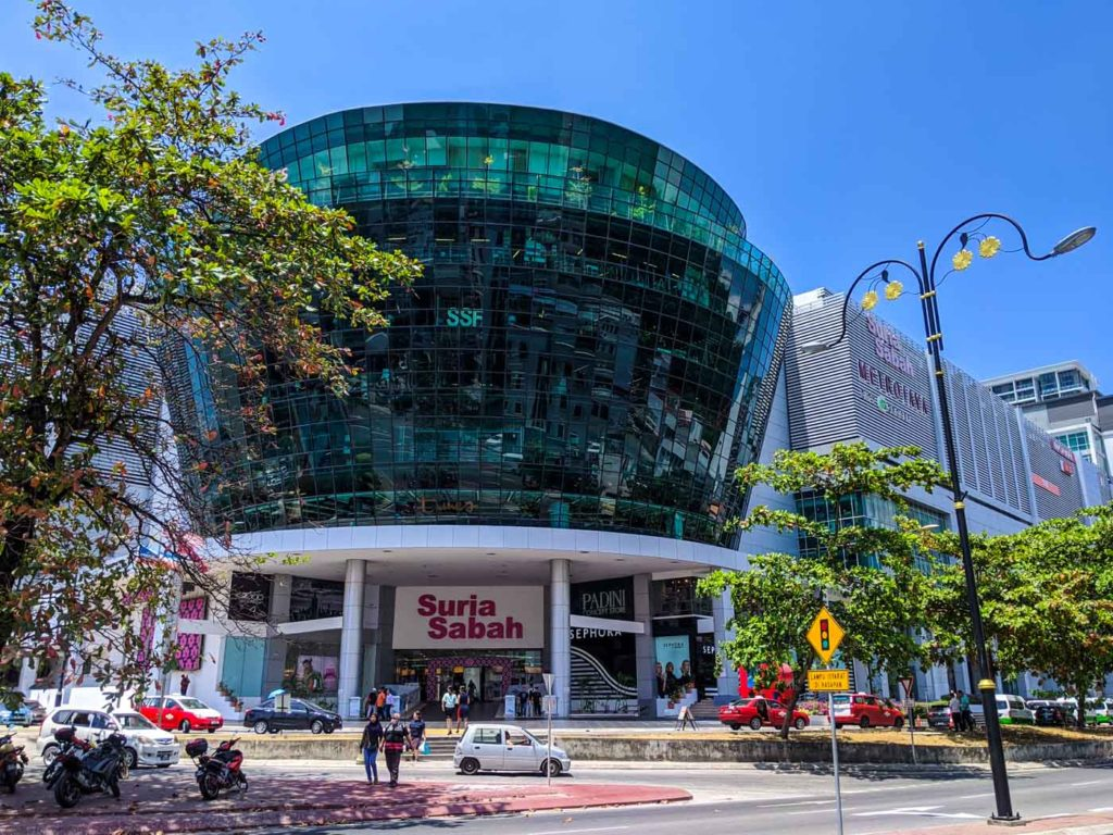 the exterior of the suria sabah mall in Kota Kinabalu