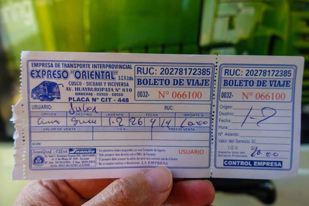 "A bus ticket for our day trip to Pikillacta. The cost was S/. 10 for two people from a company called Expreso ""Oriental"""