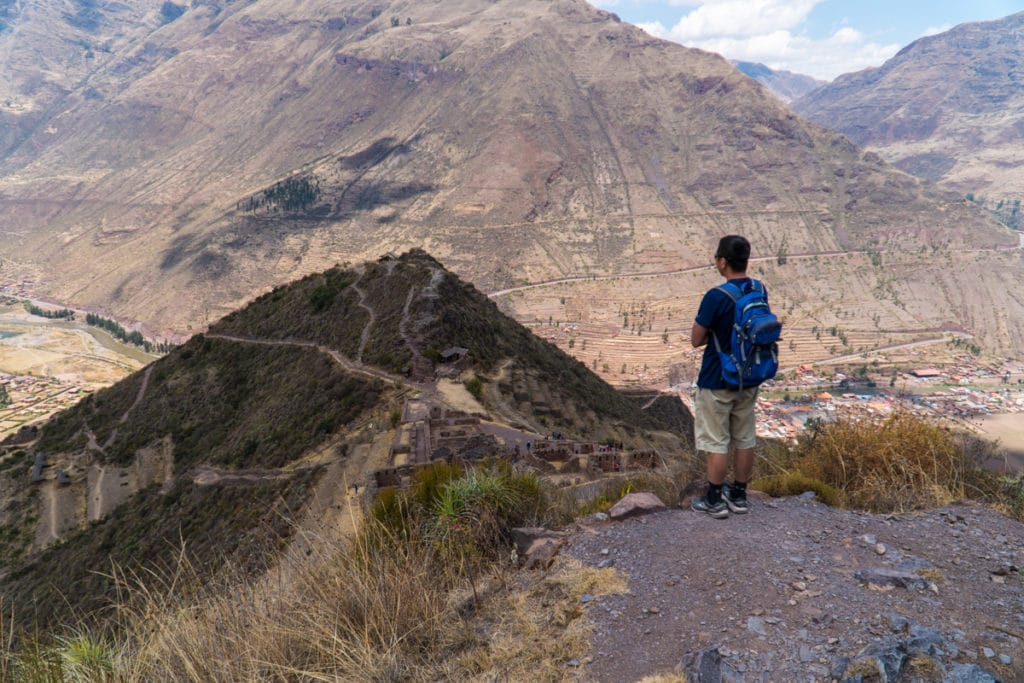 Halef looking out over the ruins of Pisac from above.