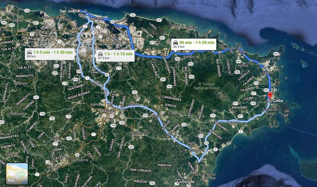 Google map route for how to get from San Juan to Vieques showing times for three routes ranging from 50 minutes to 1 hour 30 minutes.