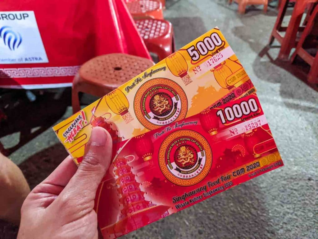 Cap Go Meh food fair money - 5,000 and 10,000 rupiah coupons