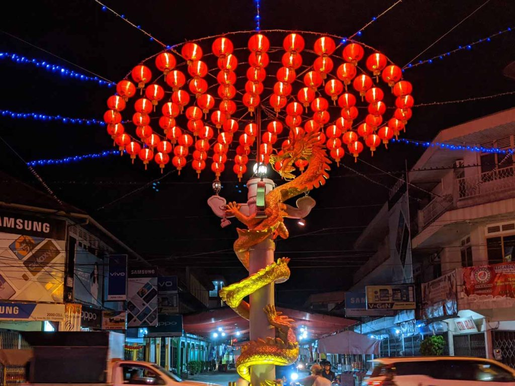 Street lanterns at a roundabout, typical of the type you'll see in Singkawang during Cap Go Meh