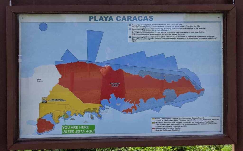 A map of the entire island of Vieques that you'll see at all beaches. The map is color coded showing you where the restricted areas are on the island