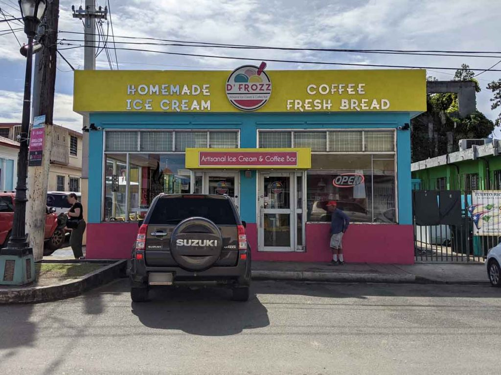 D'Frozz Homemade ice cream store and coffee shop in Vieques.