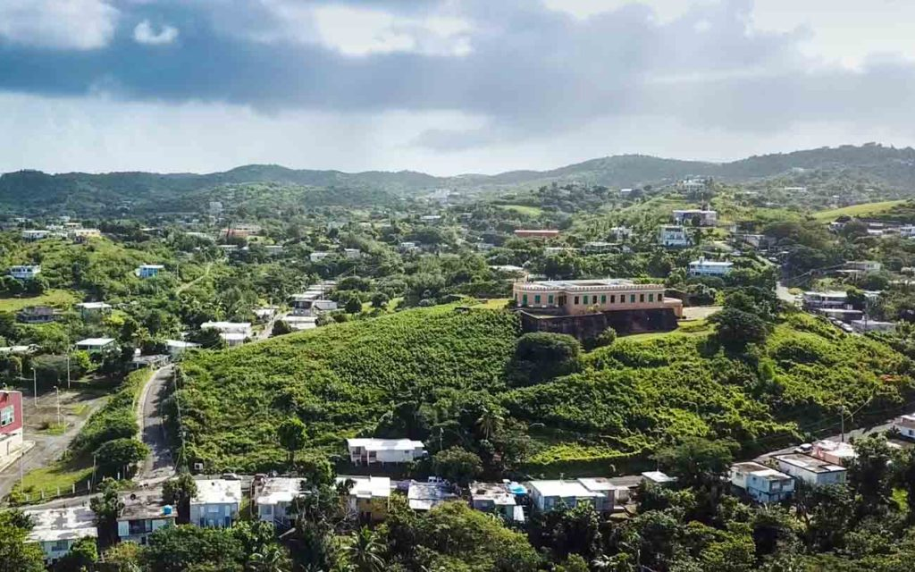 Fortin Conde de Mirasol from a drone point of view on a hill.