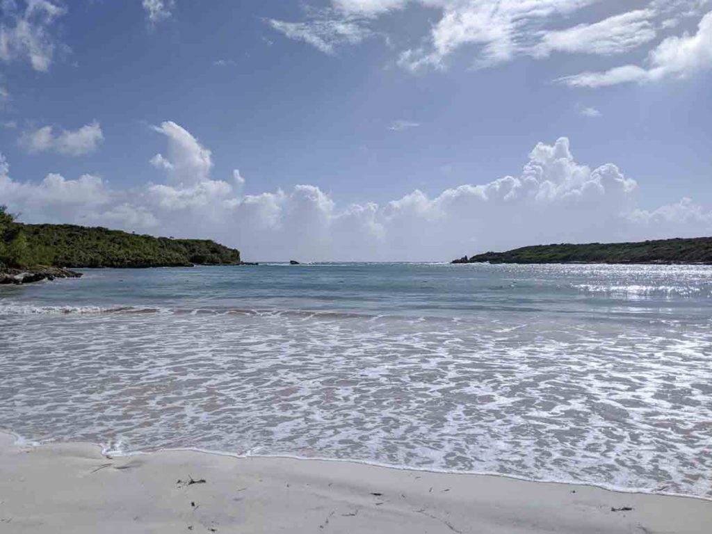 Media Luna beach in Vieques. Relatively calm water and beautiful grayish white sand. This is the view out to the ocean.