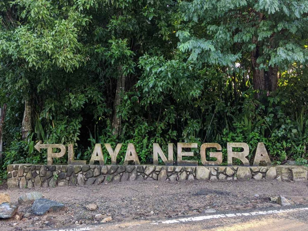 The sign for Playa Negra in Esperanza, Vieques